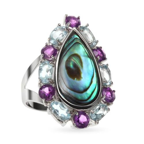 Sterling Silver 4.98ct 18x9mm Oval Abalone, Amethyst and Blue Topaz Ring Size 7