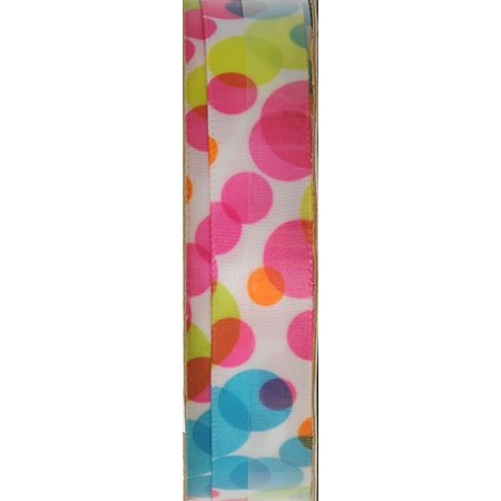 Offray Pink Watercolor Dot Ribbon, 1