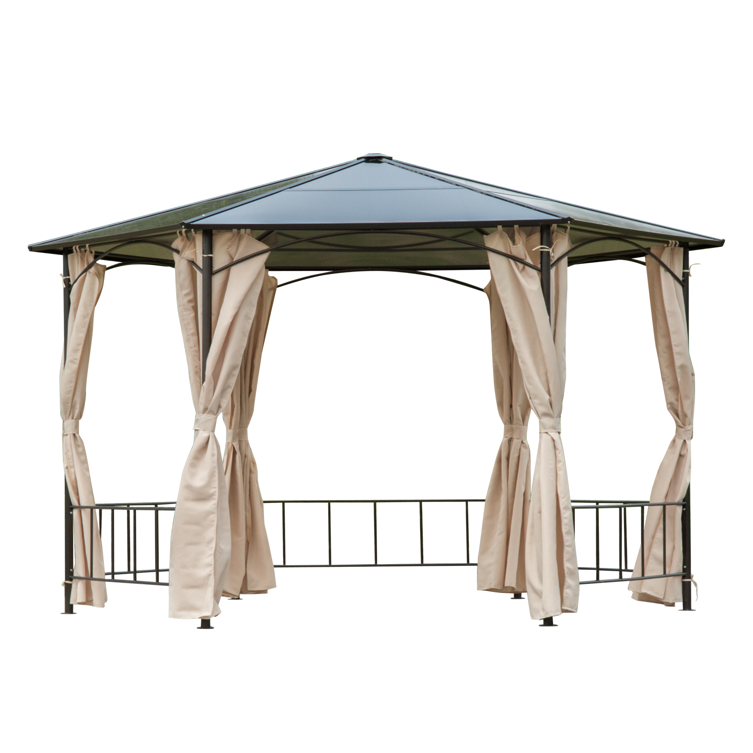Outsunny 13 ft. Steel Hexagon Party Gazebo with Removable Curtains