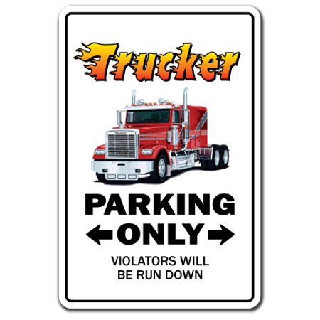 Utility Dump Trailers - TRUCKER Decal parking street semi truck driver 18 lorry dump tanker trailer | Indoor/Outdoor | 7