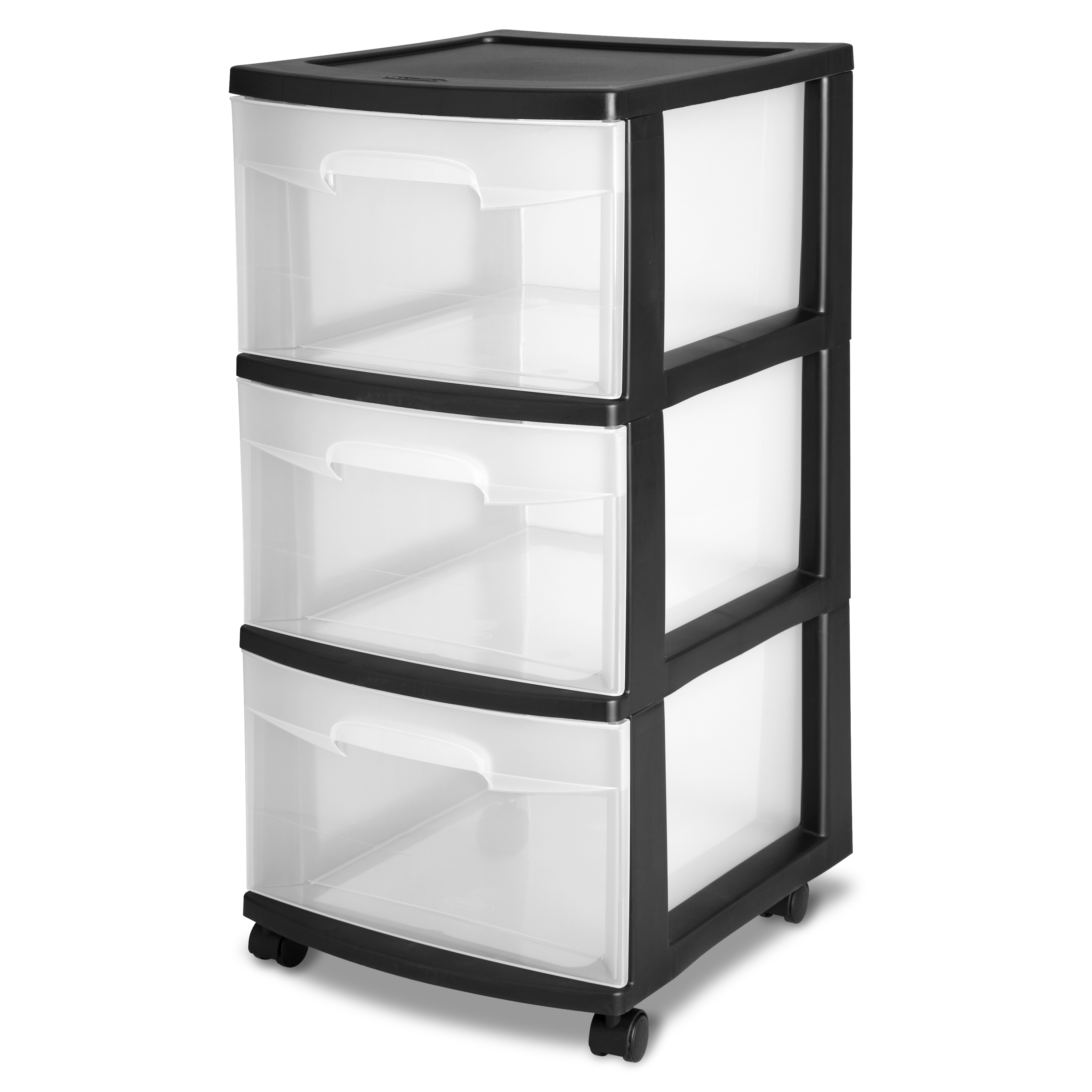 Sterilite 3 Drawer Cart, Black (Available in Case of 2 or Single Unit)