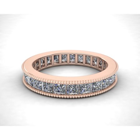 Natural 2.70Ct Princess Cut Diamond Channel Set Milgrain Women's Anniversary Wedding Eternity Band Ring Solid 14k Rose Gold I SI2