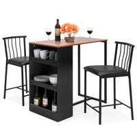 Best Choice Products 36-Inch Wooden Metal Kitchen Counter Height Dining Table Set w/ 2 Stools