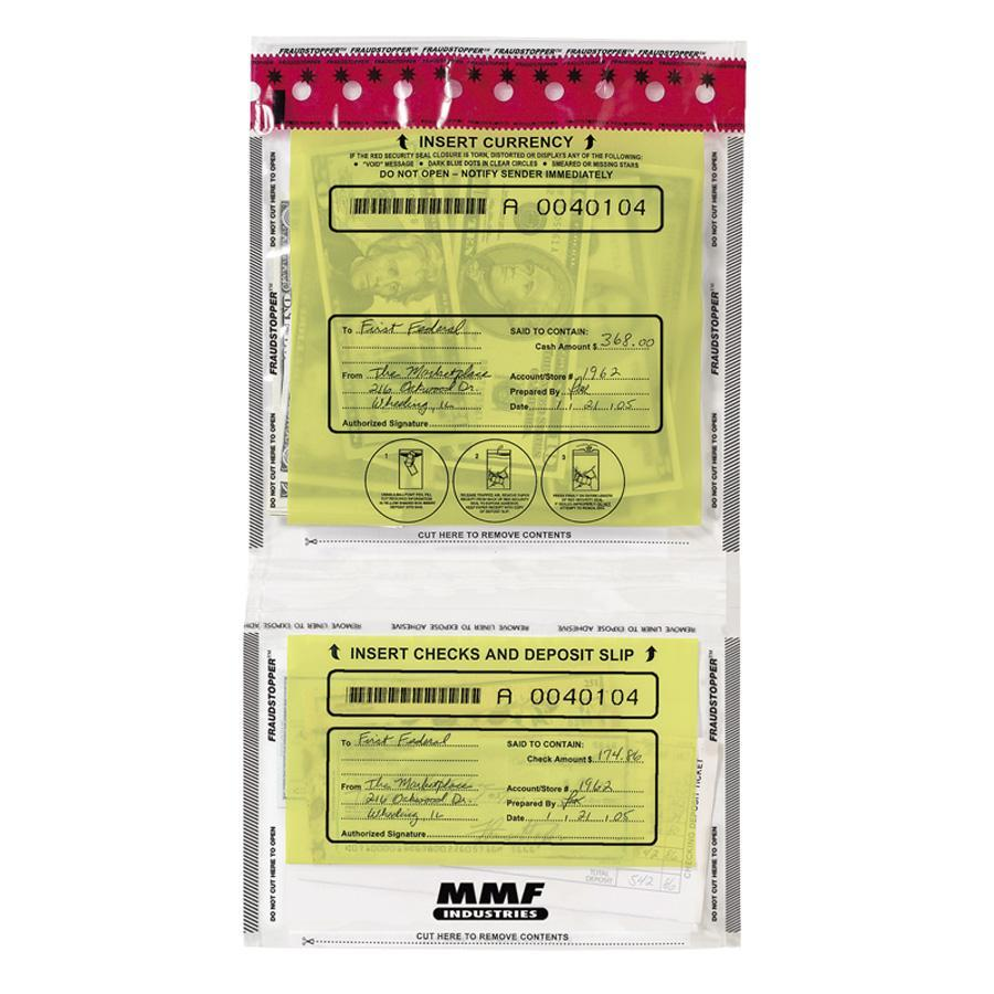 MMF, MMF2362500N20, Tamper Evident Twin Deposit Bags, 100 / Box, Clear