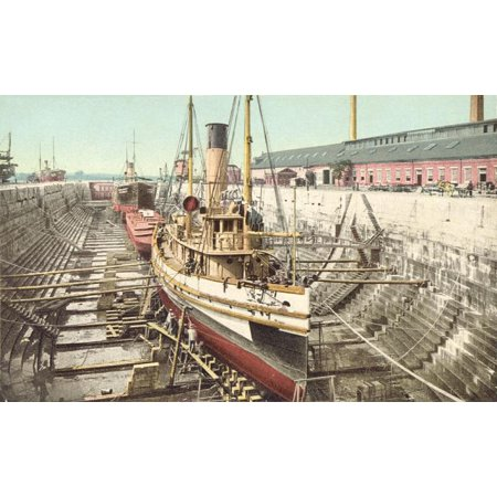 LAMINATED POSTER Dry dock at the Portsmouth Naval Shipyard, Kittery, Maine. Congress approved construction of the dry Poster Print 24 x