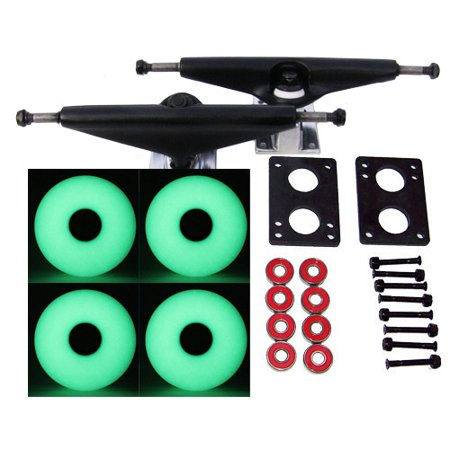 Skateboard Truck Parts - RADIUS  LONGBOARD Skateboard TRUCKS 70mm GLOW IN THE DARK WHEELS