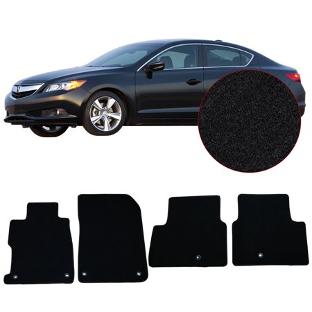 Fits 13-17 Acura ILX Black Nylon Front Rear Floor Mats Carpets - Acura Black Floor Mat