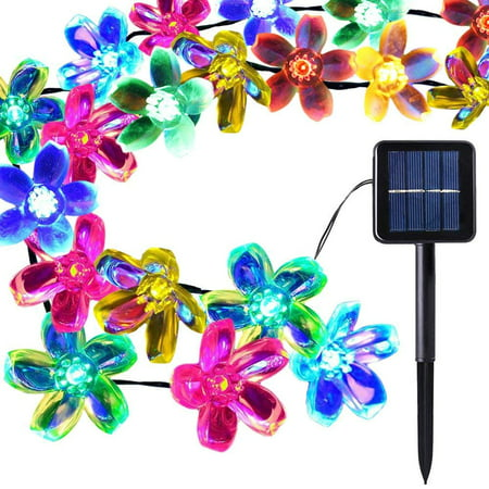 Waterproof Solar String Lights Outdoor 50 LED 22FT 8-in-1 Mode for Christmas, Home, Garden, Yard, Porch, Tree, Party, Holiday Decoration(Peach Blossom,