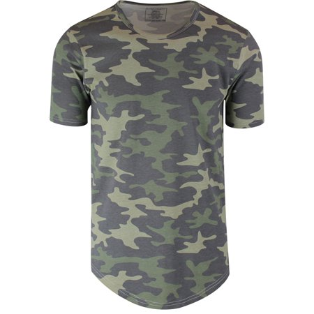 Camouflage Mens Hipster Hip Hop Long Drop Tail T Shirts (Camouflage Infant T-shirt)