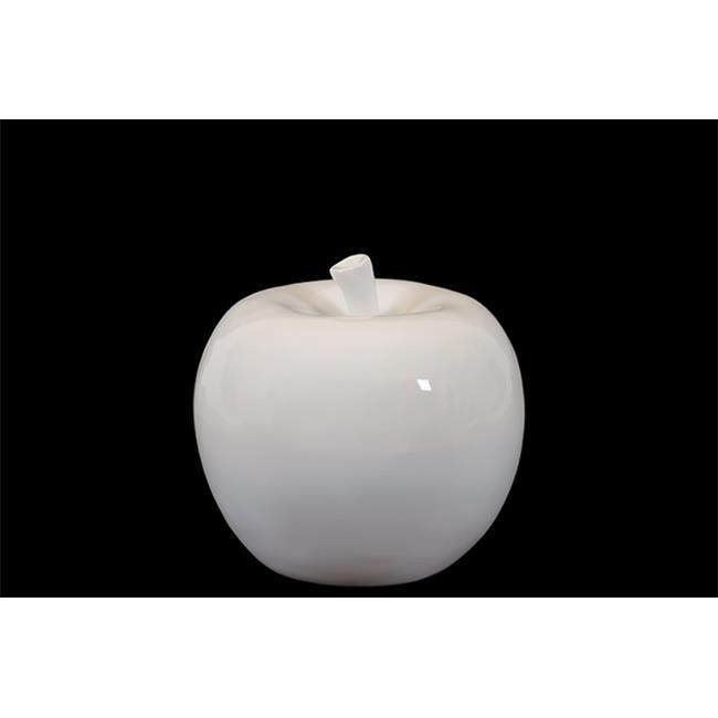 Urban Trend 70513 6.5 in. H Ceramic Apple White Small