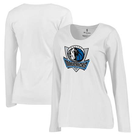 Dallas Mavericks Fanatics Branded Women's Plus Sizes Team Primary Logo Long Sleeve T-Shirt - White ()
