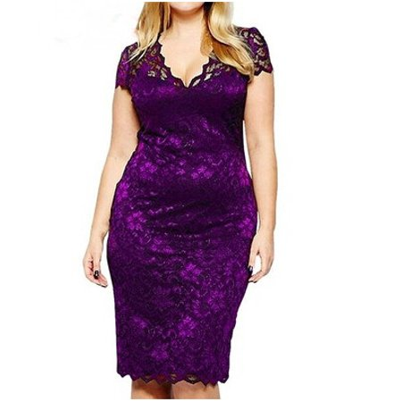 S-5XL Plus Size Women's Lace Patchwork V-neck Short Sleeved Slim Bandage Dress