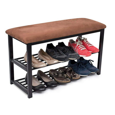 BIRDROCK HOME Storage Shoe Rack Bench for Entryway | Brown | Cushion Seat | Metal | Entrance Sitting | Shoe Holder | Front Door Organizer | Home Storage ()