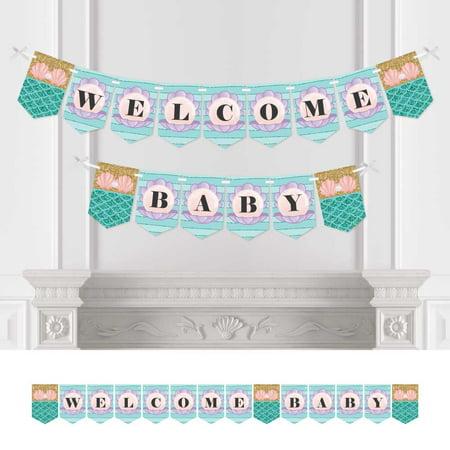 Mermaid Baby Shower (Let's Be Mermaids - Baby Shower Bunting Banner - Welcome Baby)