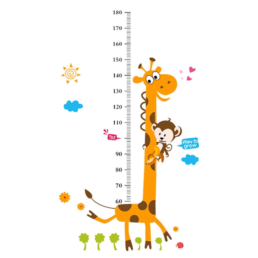 Bedroom Decor Cartoon Style Monkey Giraffe Pattern Removable Wall Decor Sticker Decal