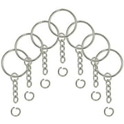 Split Key Ring with Chain and Open Jump Ring 1 Inch Key Chain Nickel Plated Silver 120pcs Bulk for Crafts
