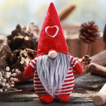 Non-Woven Hat With Heart Handmade Gnome Santa Christmas Figurines,Ornament Holiday Table, Decor Festive Present ()