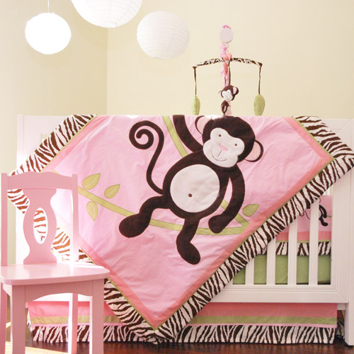 Pam Grace Creations Jolly Molly Monkey 10-Piece Nursery in a Bag Crib Bedding Set