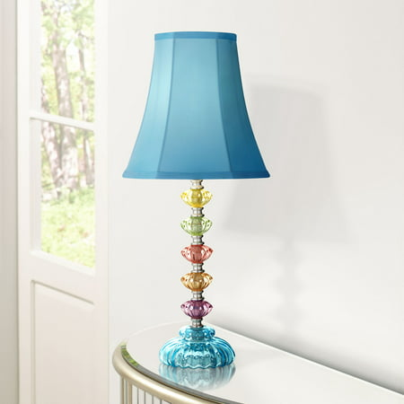 360 Lighting Bohemian Accent Table Lamp Stacked Clear Colored Glass Teal Blue Bell Shade for Kids Room Bedroom (Best Blue Rhino Table Lamps)