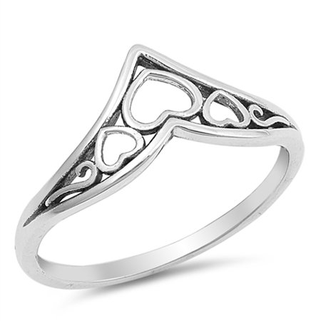 Filigree Chevron Heart Promise Ring Sterling Silver Celtic Thumb Band Size 8