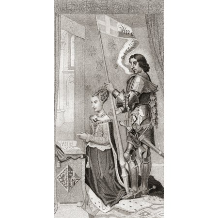 Margaret of Denmark with St Canute patron of Denmark behind her holding a banner showing the cross of the crusades Margaret of Denmark 1456 PosterPrint