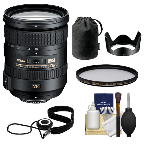 Nikon 18-200mm f/3.5-5.6G VR II DX ED AF-S Nikkor-Zoom Lens + Hood & Pouch Case + Filter Kit for D3200, D3300, D5300, D5500, D7100, D7200 Camera