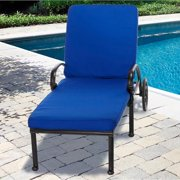 "Indoor/ Outdoor 25"" Wide Chaise Lounge Cushion with Sunbrella Fabric Solid Bright Aruba"