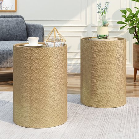Noble House Ezequiel Modern Hammered Iron Round Accent Table, 2 Pack, Gold Hammered Nickel Table