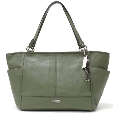 Coach Park Leather Carryall Tote Shoulder Bag   Olive