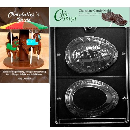 Egg Candy Mold - Cybrtrayd Large Name Egg Easter Chocolate Candy Mold with Our Chocolatier's Guide Instructions Manual