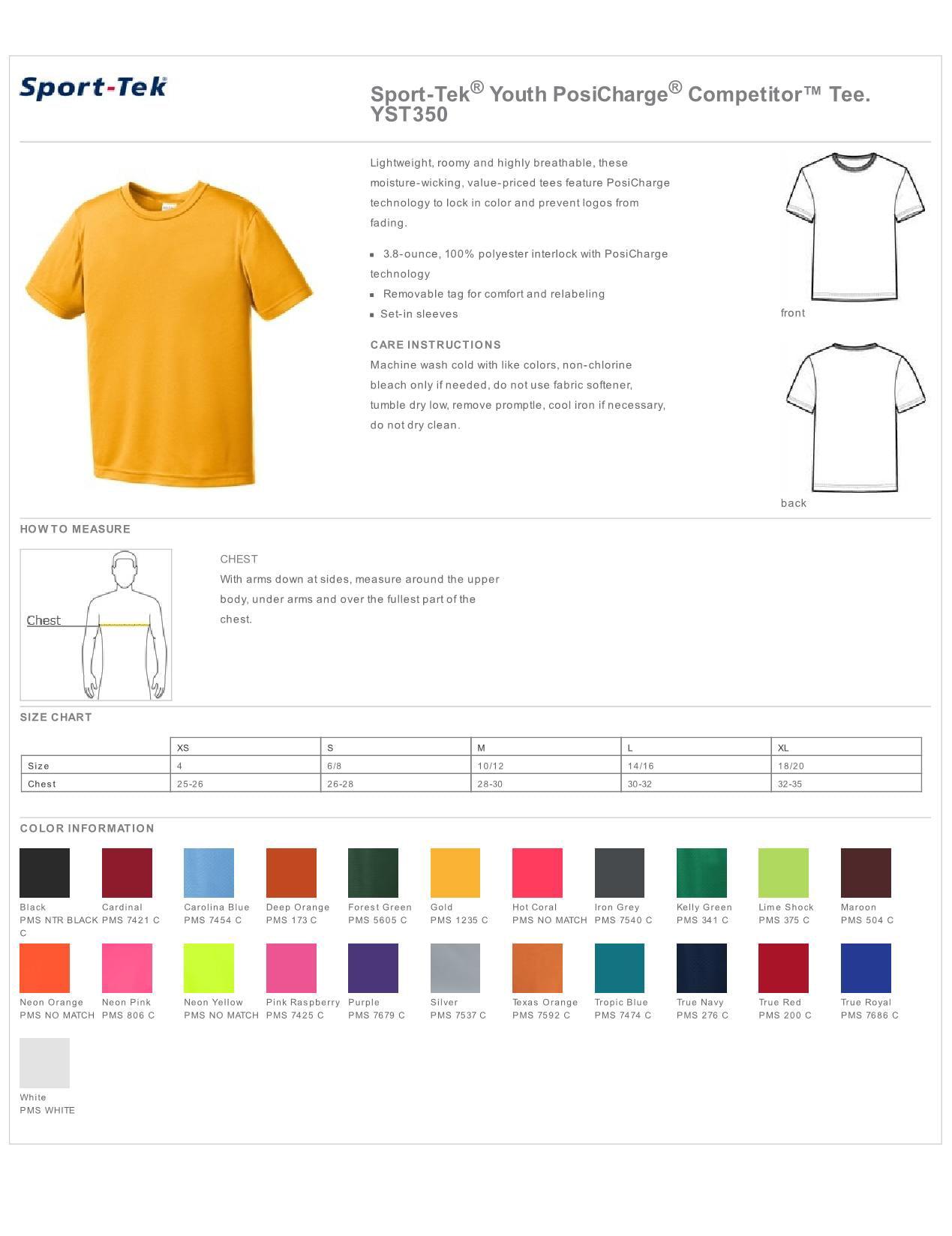 Sport-Tek Boys Competitor Polyester Casual Short Sleeve T-Shirt 6-Pack YST350