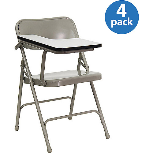 premium steel folding chair with laminate tablet arm set of four