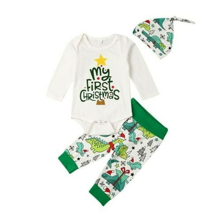 Christmas Outfit For Toddler Boy (Baby Boy Newborn Clothes My First Christmas Romper Dinosaur Pants)