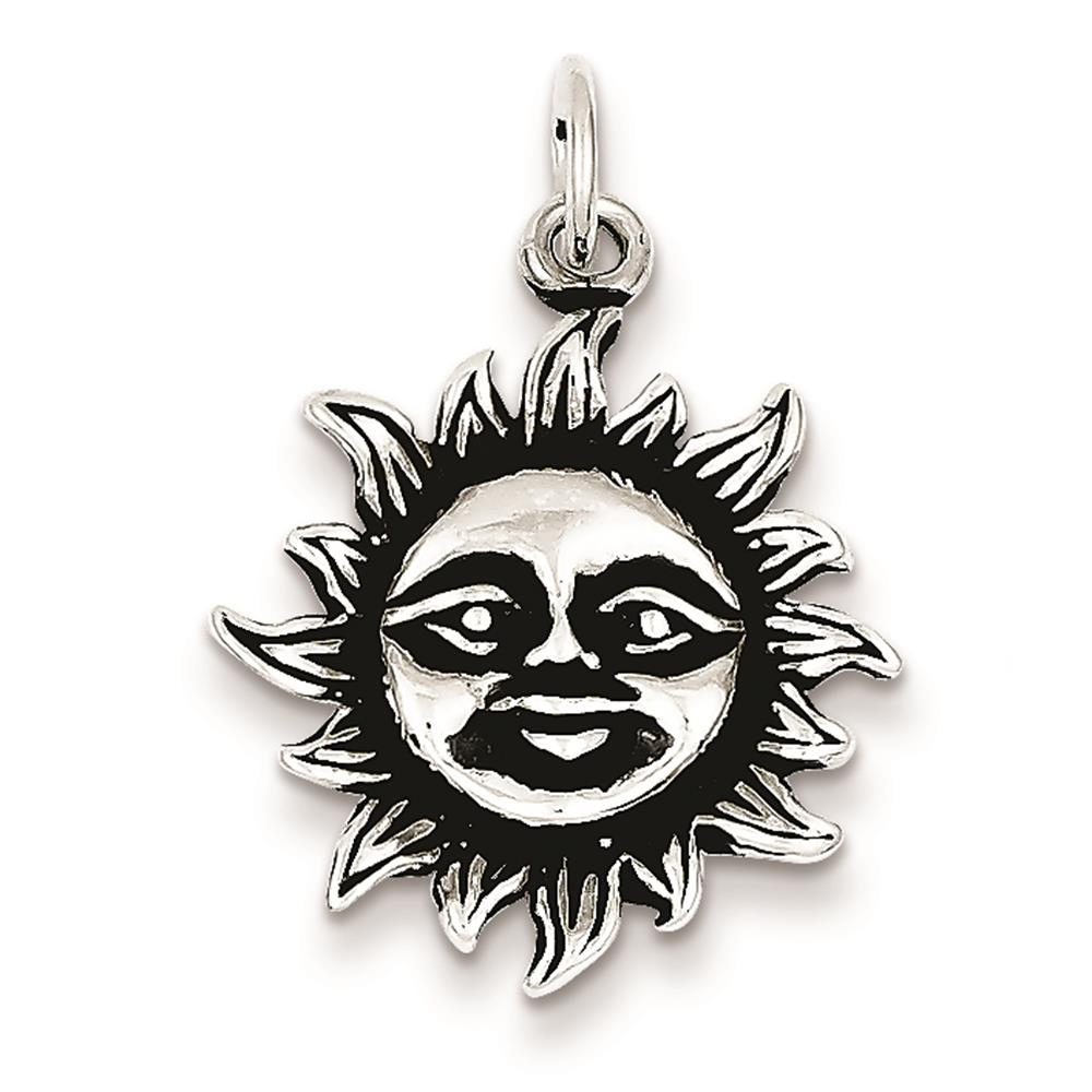 925 Sterling Silver Antiqued Sun Open-back Charm Pendant 23mm x 20mm