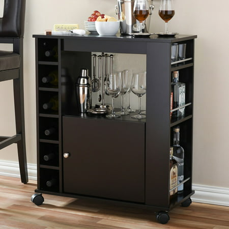 Baxton Studio Ontario Mobile Bar and Wine (Collection Bar Cabinet)