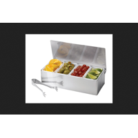 Tablecraft Bar Caddy w/Tongs Stainless Steel/Plastic Silver