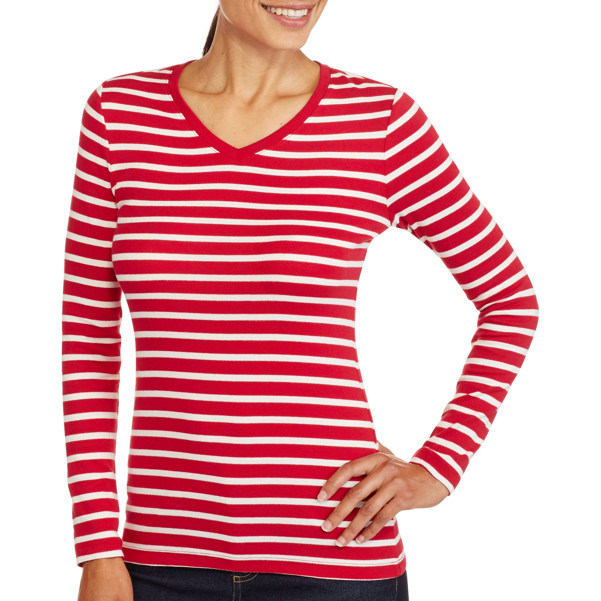 Faded Glory Women's Essential Long Sleeve V-Neck T-Shirt - Walmart.com