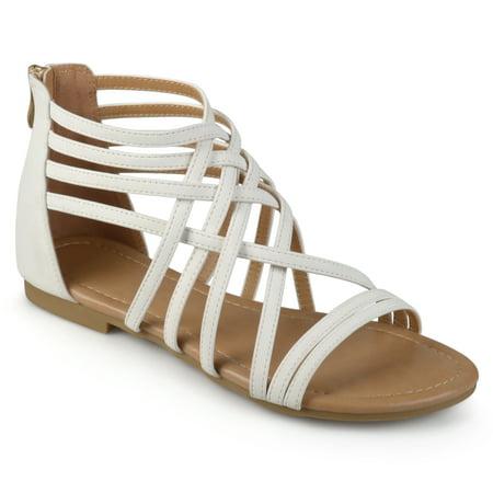 Womens Wide Width Strappy Gladiator Flat Sandals (Nine West Gladiator Sandals)