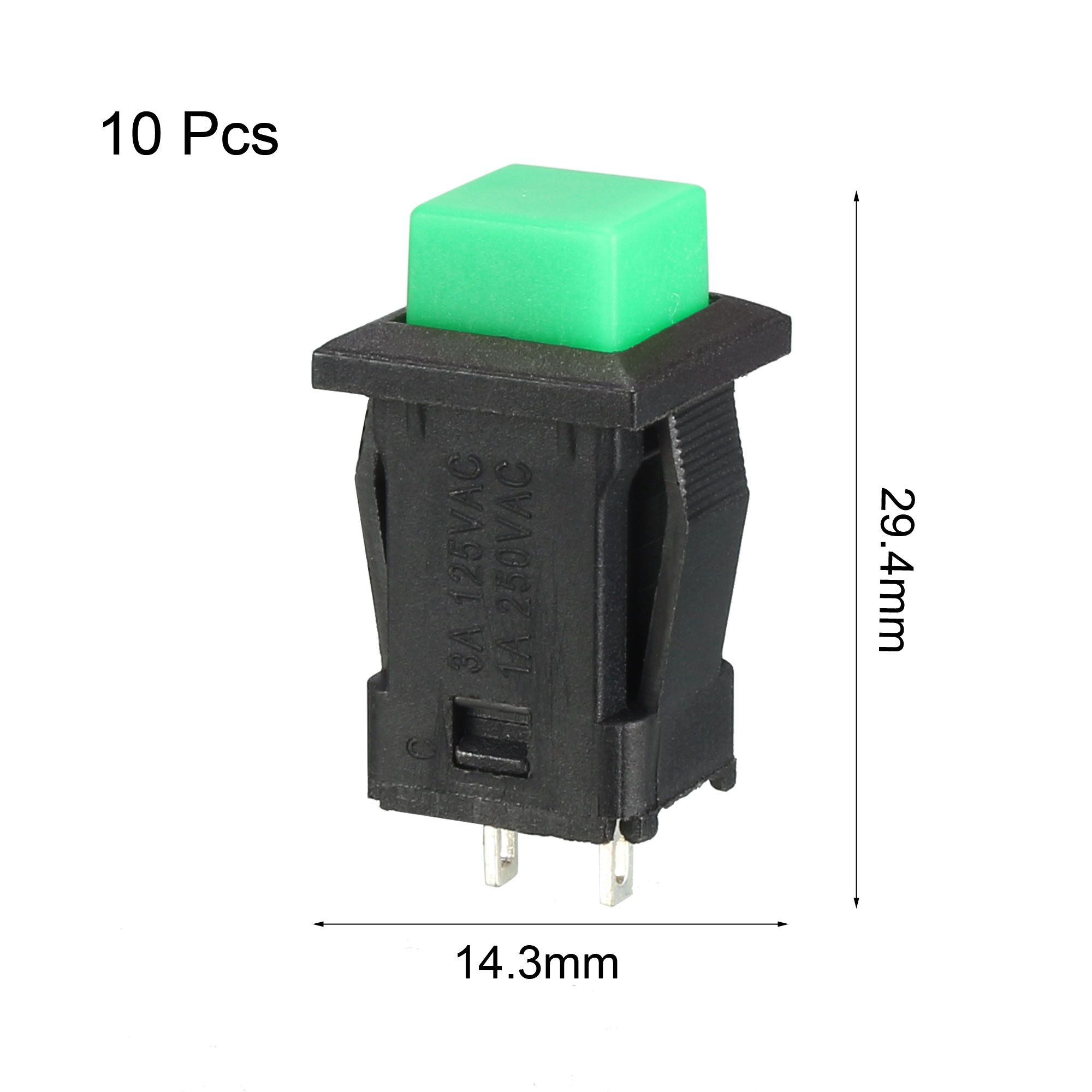12mm Mounting Hole Green Square Latching Push Button Switch SPST NO 10pcs - image 1 of 4