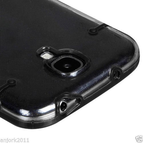 reputable site edd9c 16e57 Samsung Galaxy S4 i9500 Hybrid Gummy Case 2 Tone Cover Clear Black