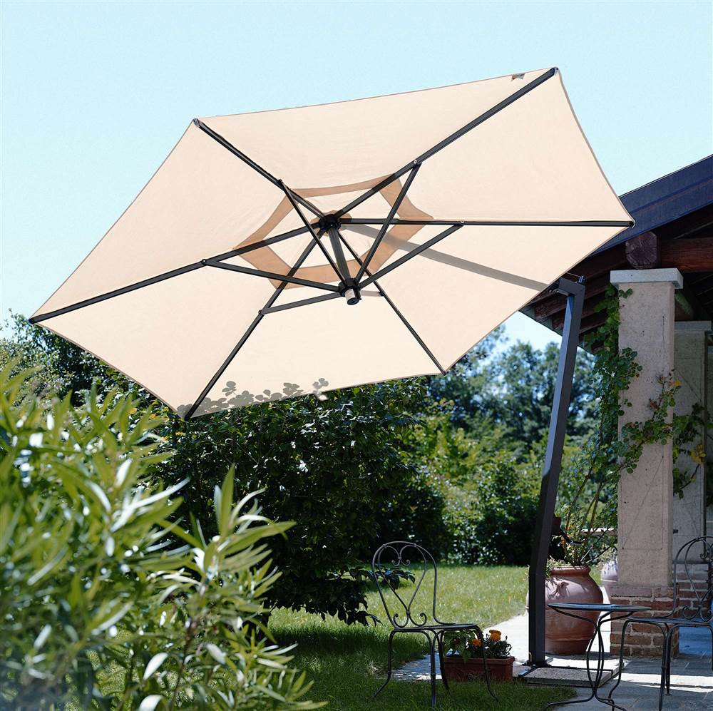Cantilevered Graphite Frame Patio Umbrella (Market Style-Deckmount-Natural)