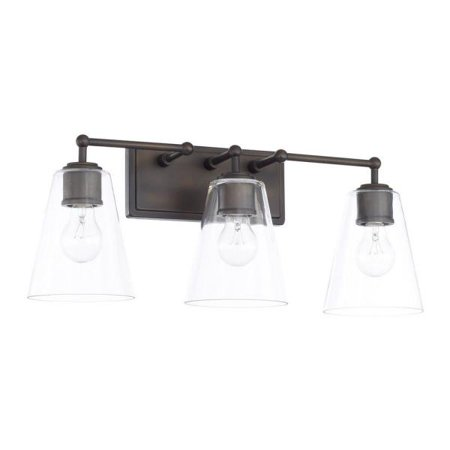"Capital Lighting Three Light Bath Vanity 9.5"" Three Light Bath Vanity, Old Bronze Finish with Clear Glass"