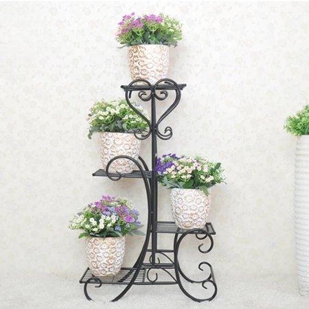 Meigar 4 Tier Metal Plant Stand Metal Shelves Flower Pots Stander Display Pots Holder for Indoor Outdoor Home Garden Use ()