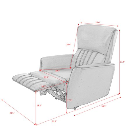 Costway Ergonomic Manual Recliner Sofa Chair PU Leather Lounger Club Home Theater beige - image 7 of 8