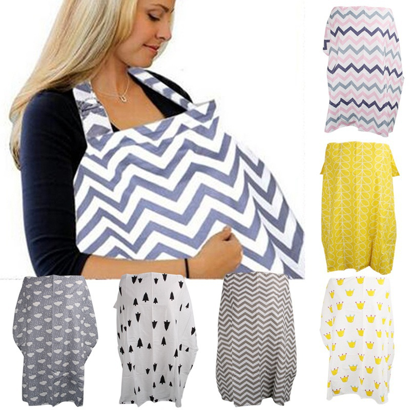 EFINNY Baby Mum Breastfeeding Cover Cotton Nursing Udder Apron Shawl Cloth Striped