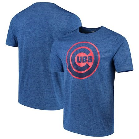 Chicago Cubs Pitcher (Men's Majestic Heathered Royal Chicago Cubs Logo Statement T-Shirt)