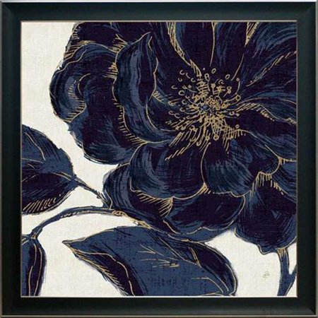 North American Art N2190 34 x 34 in. Indigo Garden Bloom II Framed Art - Garden Framed Print