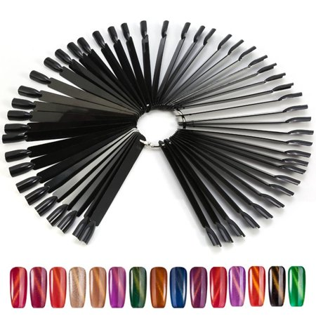 50Pcs/Bag Fan False Nail Tip Stick Palette Swatch Manicure Polish Gel Display Practice Tool, Nail Display Stick, Nail Color (Stack Pallet)