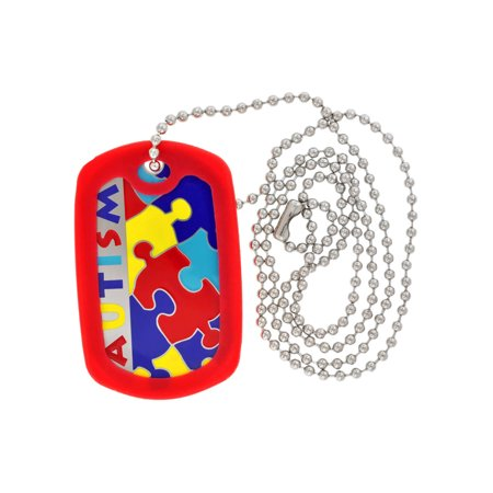 Autism Awareness ID Necklace Dog Tag w/ Chain & Red Silicone Protector (Customized Dog Tag Necklaces)