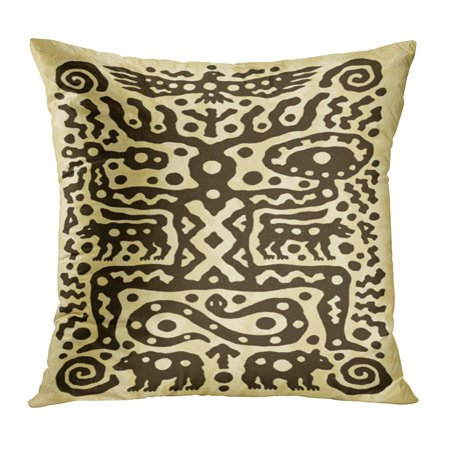ECCOT Aboriginal Ethnic Tribal Native Prehistoric Witch Shaman Dance Drum Bird Wolf Bear Age Aged Ancient Pillowcase Pillow Cover Cushion Case 16x16